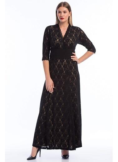 Angelino Butik Kadın Büyük Beden Abiye Uzun Elbise KL16000 Siyah